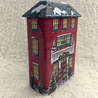 Silver Crane Company Christmas House Tin Canister Red House