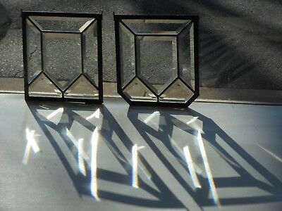 Architectural Salvage--Unmatched Pair Beveled Stained Glass Windows  c. 1900