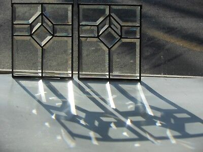 Architectural Salvage Matched Pair Beveled Stained Glass Windows   c. 1900