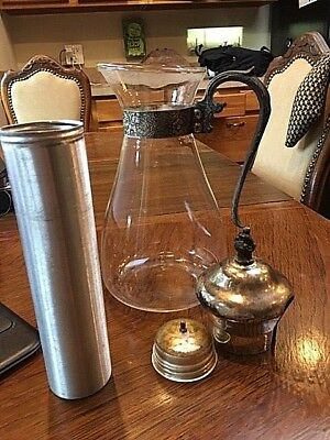 Vintage Silver Glass Carafe Water Pitcher With Aluminum Ice Storage