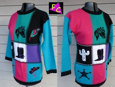 VTG 80s BOLD WESTERN STYLE sweater ACRYLIC XS S CACTUS MADE IN USA YOUTH 32 34