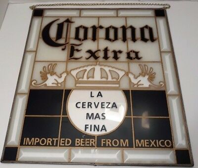 Vintage Corona Extra Simulated Stained Glass Sign 1986 Barton Beer Chicago