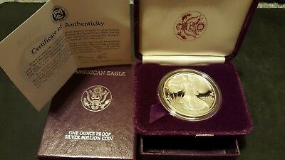 1986 1 oz Silver American Eagle Proof in OGP with COA