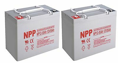 NPP 12V 55AH Rechargeable Deep Cycle Battery UB12550 PS-12550 MK55-12 /  (2pcs)