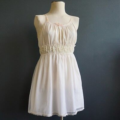 VINTAGE SLIP Chiffon Lace NEGLIGEE 1960s PERRY LINGERIE Small Size