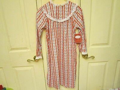 412e49c5c0 Lanz of Salzburg NWT Girls Flannel Nightgown Flame Resistant Red Stripe M  (7 8