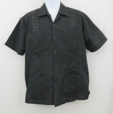 7770eef852 Yucateca Guayabera Mens L Black Pleated Embroidered Front Panel 4 Pocket  Shirt