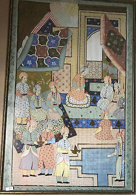 Indian Mughal Persian Islamic Painting Of Royal Court Scene