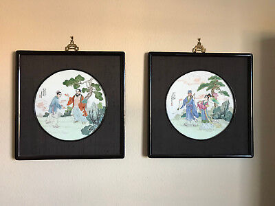 Chinese hand painted porcelain China plaques, Famille Rose