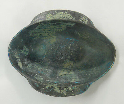"X-RARE Ancient Chinese Bronze Wine ""Ear Cup"" w/Inscription: Gift to a Prince!"