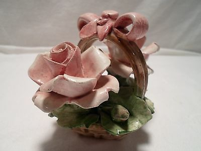Nuova Capodimonte made in Italy Pink flowers in Basket Porcelain