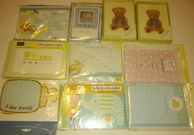 Lot of 10 Birth Announcements/Photo Mailers/Baby Shower/Teddy Bear Cards Animals