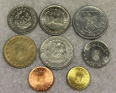 set of 8 different coins from Romania