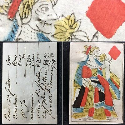 1700's Secondary Use Quill Personal Bankers Money Document Playing Cards Single