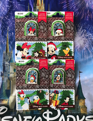 2018 Disney Christmas Holiday 4 Gift Card Set Pin LE 2655 Window Mickey Minnie