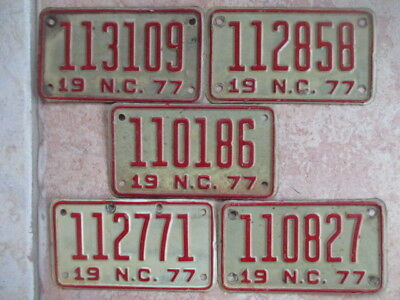Lot of 5 North Carolina Motorcycle License Plates  - Embossed - 1977 -