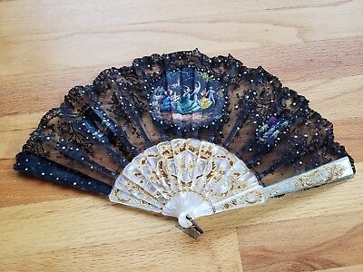 Vintage Spanish CASA RUBIO Hand Painted Mother Of Pearl Lace Folding Hand Fan