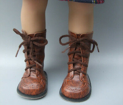 "Vintage Brown Leather Doll Boots Shoes  Fit For 18"" Inch Girl doll Accessories"
