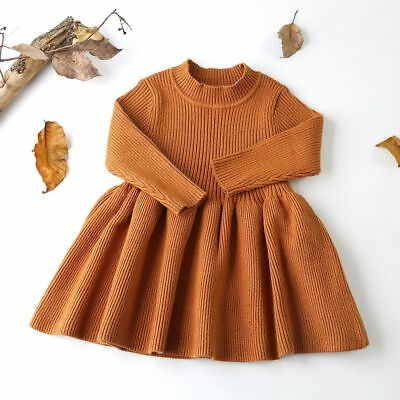 Dresses Girls Wool Knitted Sweater For Baby Cotton Acrylic Clothes Knee Length