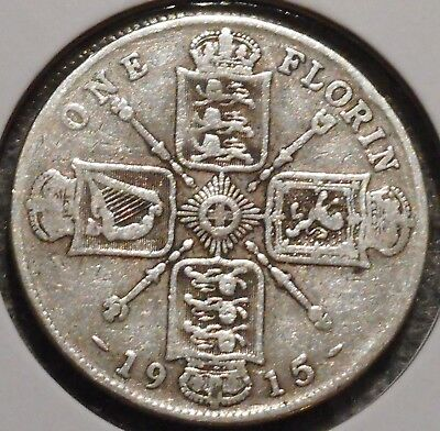 British Florin - 1915 - King George V - $1 Unlimited Shipping