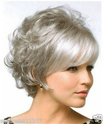Fashion wig Curly Short Hair Wig Gray Color Women Cosplay Full Wigs