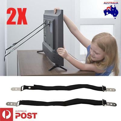 2Pcs Anti Tip Safety Straps Flat Screen TV Fix Anchor Child Baby Secure Proofing