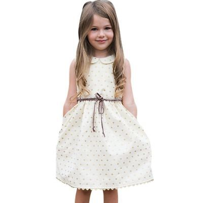 Dress Toddler For Girls Kids Baby Sleeveless Spandex Cotton Knee Length Sashes
