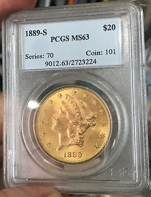 1889-S $20, Pcgs Ms 63 Liberty Double Eagle, Only 54 Graded Higher By Ngc; Beaut