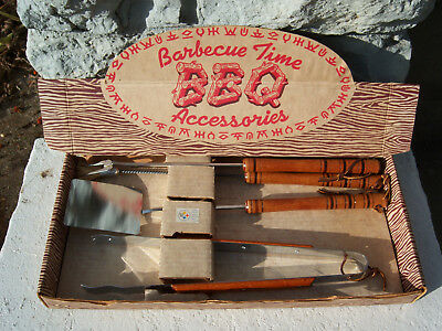 Vintage 1950s BBQ Accessories Steel Utensil Tool Set Box Cowboy Branding Marks