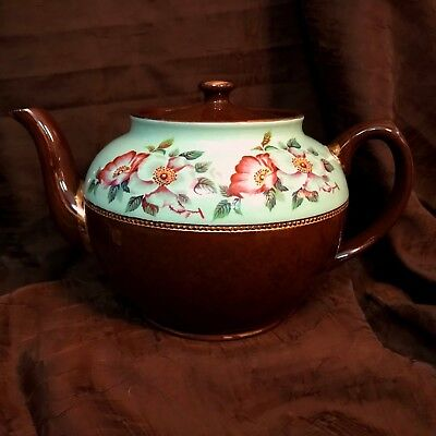 Sadler Brown Betty Tea Pot Mint Green accent with Wild Roses