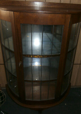 Antique Bow Front Cabinet~Mirrored Back~Small Amber Glass Panels~Cessnock
