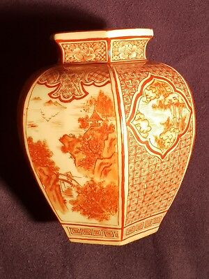 "Antique Kutani Ryuzan HEXAGON VASE 6"" × 5 1/2""  EXQUISITE HAND PAINTED & SIGNED"