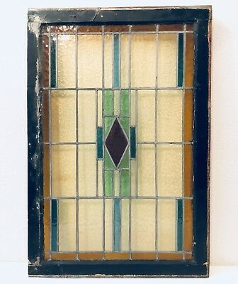 Antique Large ~ English Stained Pebble Glass~Reclaimed Salvaged Window~45 Inches