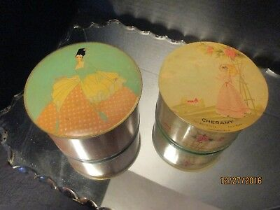 Vintage April Showers Powder and Puff Cheramy New York LITHO Tin