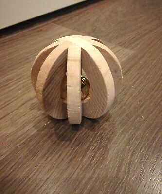 Small Pet Hamster Mouse Rat Unique Toy Wooden Ball with Bell Boredom Breaker