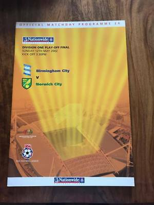 Birmingham V Norwich 2002 Division 1 One Play Off Final Programme Free Postage