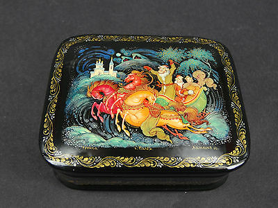"""Russian Lacquer Box """"Troika"""" 676- Palekh hand painted  Box"""