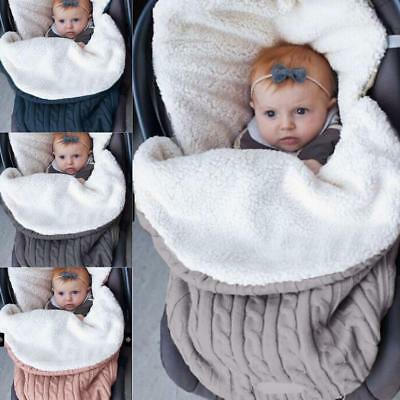 Winter Warm Infant Stroller Wrap Thick Sleeping Bag Knit Baby Swaddle Blanket au