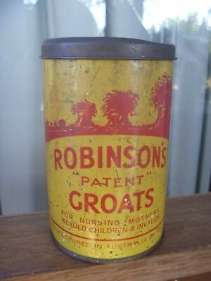 Vintage 1930s ROBINSONS GROATS TIN rare Australian grocery supermarket item