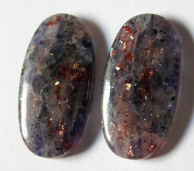 28.85 Cts Natural Iolite Sunstone (26mm X 13.3mm each) Cabochon Match Pair
