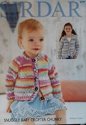 0274782d0d50 SIRDAR 4779 SNUGGLY Baby Crofter Chunky Cardigans 0 To 7 Years ...