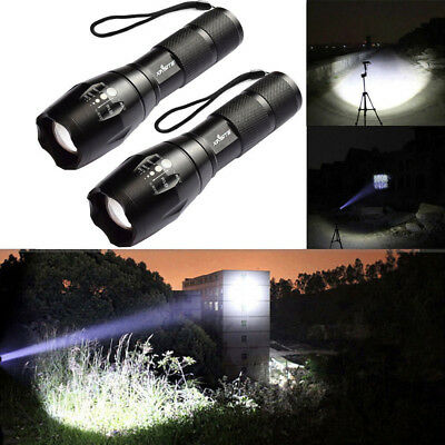 50000Lm Lumens LED Flashlight Hand Tourch Zoomable XM-L T6 Hiking Camping Light