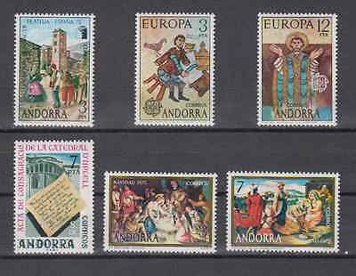 Spanish Andorra - Year 1975  Complete Mnh - Edifil 96/101