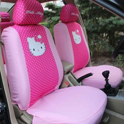Car Seat Covers Red Dots Hello Kitty Cartoon Universal Car Interior 10 Pieces