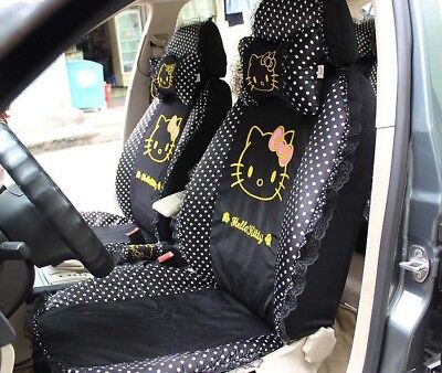Car Seat Covers Black Dots Hello Kitty Cartoon Universal Car Interior 18 Pieces