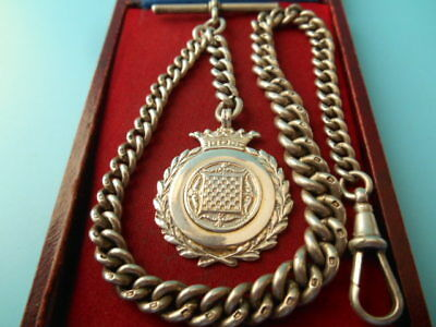 ANTIQUE SOLID SILVER POCKET WATCH ALBERT CHAIN & FOB NOT SCRAP 47.2gm