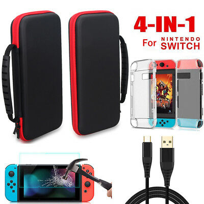 For Nintendo Switch Accessories 4 in 1 Travle Case Bag+Shell+Charger Cable+Film