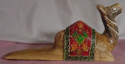 Camel Laying Down Hand Carved Hand Painted Solid Wood Awesome Saddle Colorful
