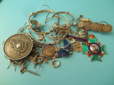 JOB LOT SOLID SILVER JEWELLERY FOBS MEDAL ETC SCRAP 200gm