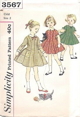 Vintage Girl's A Line Circle Skirt Dress Sewing Pattern Size 2 Long Short Sleeve